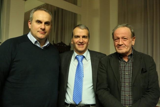 Stefano Cardinali, ex sindaco di Montecosaro, Mario Morgoni e Pietro Marcolini