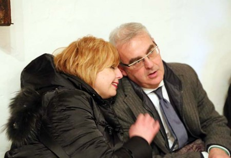 Teresa Lambertucci (segretario provinciale del Pd) con il sindaco Romano Carancini