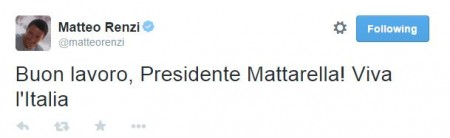 Il tweet del premier Matteo Renzi