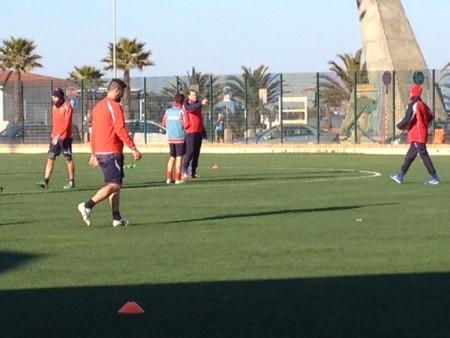Mister Antonio Mecomonaco durante l'allenamento odierno