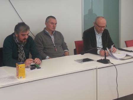 Un momento della conferenjza stampa dei sindacati