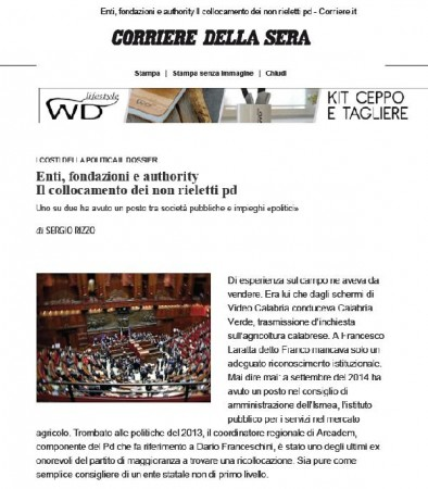 L'articolo di oggi del Corriere della Sera (Fonte: www.corriere.it)