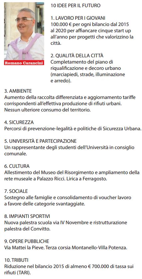 Romano Carancini, il programma in sintesi