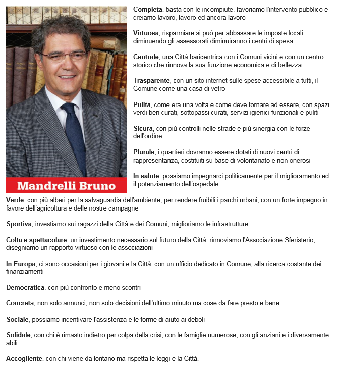 Il programma di Bruno Mandrelli in sintesi