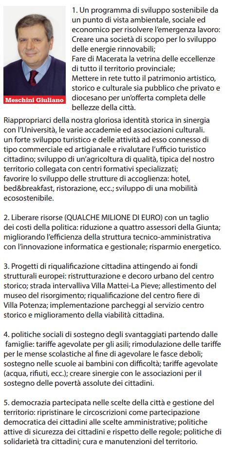 Giuliano Meschini, il programma in sintesi