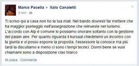 Il post di Marco Pacella apparso sulla bacheca dell'assessore Canaletti