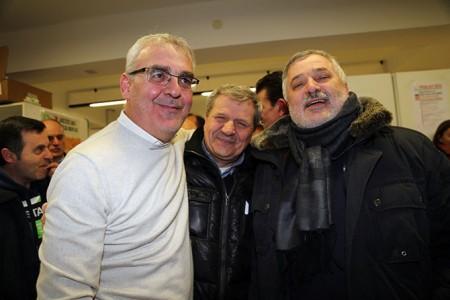 Romano Carancini, Giuliano Meschini e Alferio Canesin festeggiano