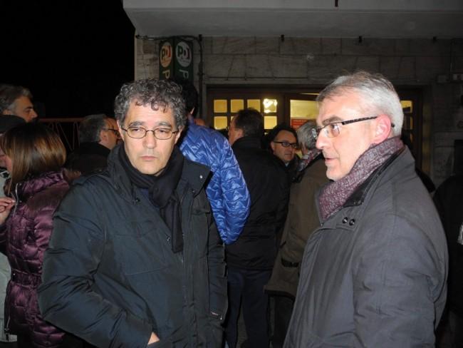 Bruno e Mandrelli e Romano Carancini, volti tesi dopo i risultati