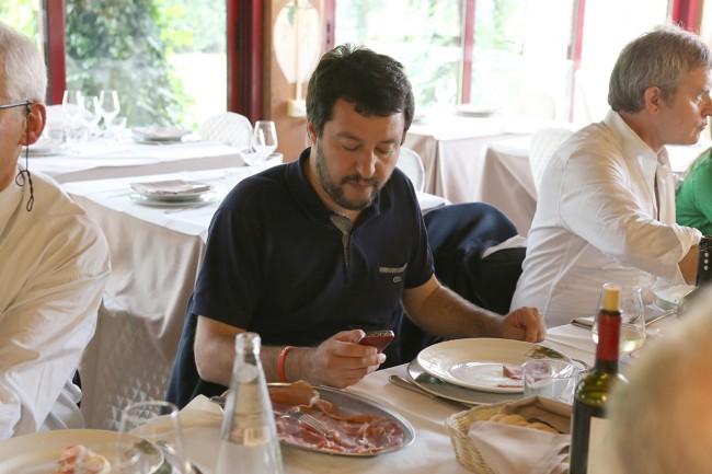 Matteo Salvini ha pranzato alla Cipolla d'Oro di Porto Potenza Picena