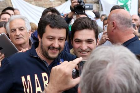 Matteo Salvini a Macerata con Francesco Acquaroli, candidato alla presidenza della Regione