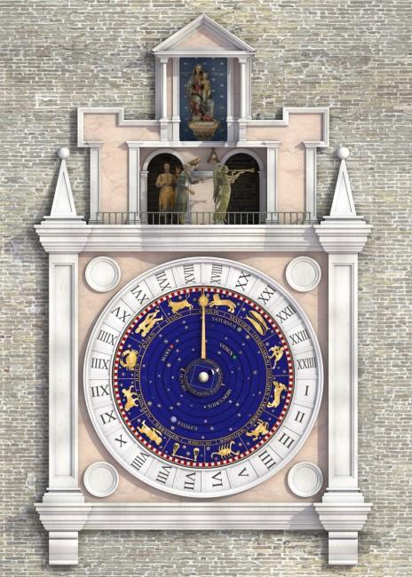 Rendering dei pupi sulla torre dell'orologio