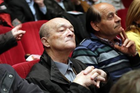 Graziano Pambianchi durante l'incontro della Pantana al cinema Italia