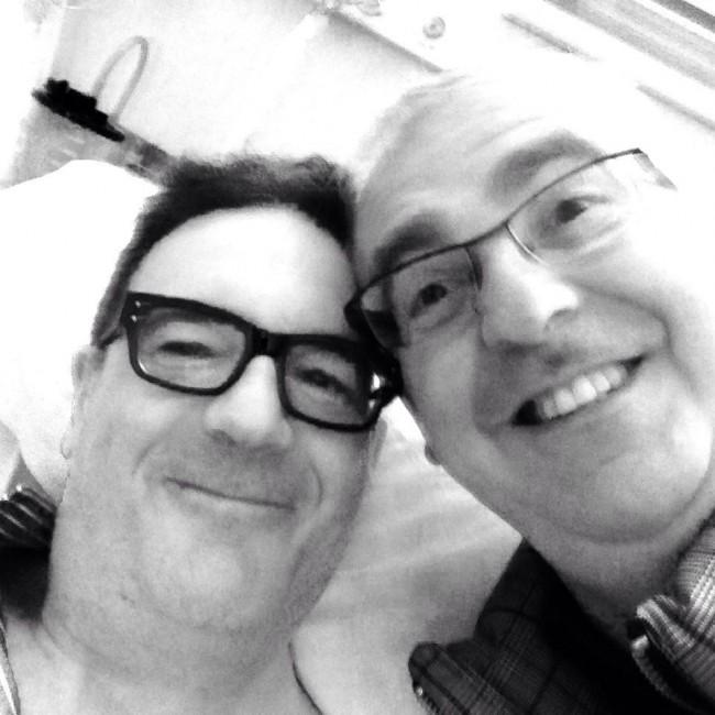 Il sindaco Romano Carancini e l'avvocato Giancarlo Giulianelli in un selfie fatto in ospedale