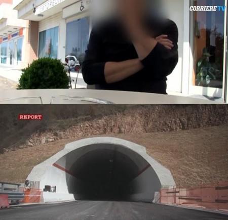 La puntata di Report: l'operaio intervistato (sopra) e la galleria La Franca (sotto)