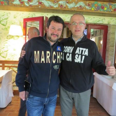 Matteo Salvini e Fabrizio Ciarapica al ristorante La Cipolla d'oro