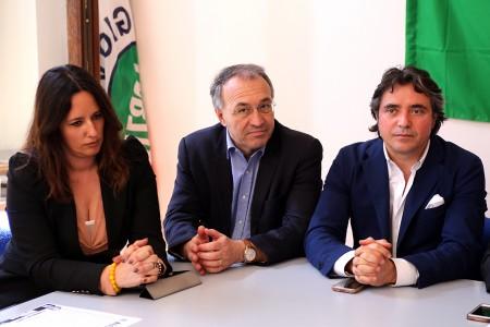 I candidati alla Regione Barbara Cacciolari, Enzo Marangoni e Fabio Pistarelli