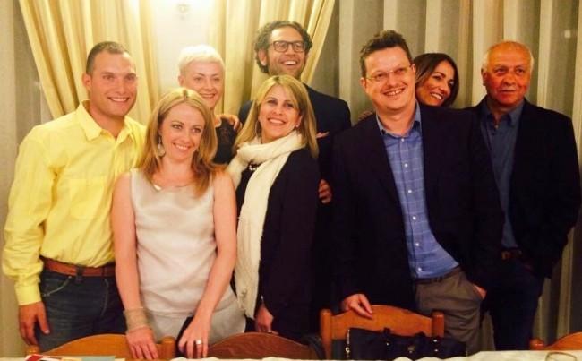 Giorgia Meloni con i candidati maceratesi
