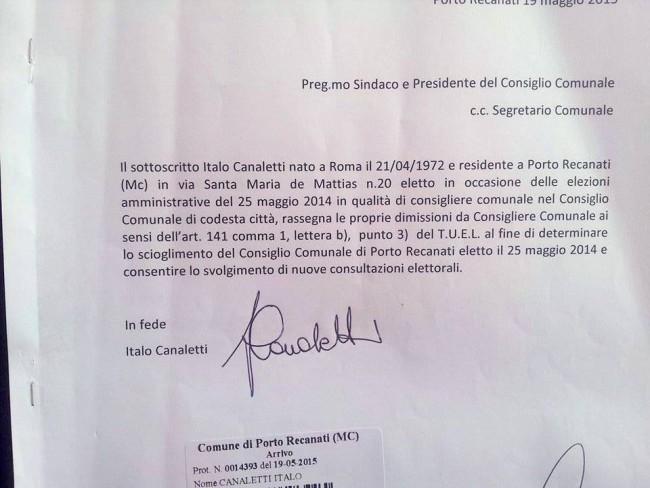 Le dimissioni presentate da Italo Canaletti