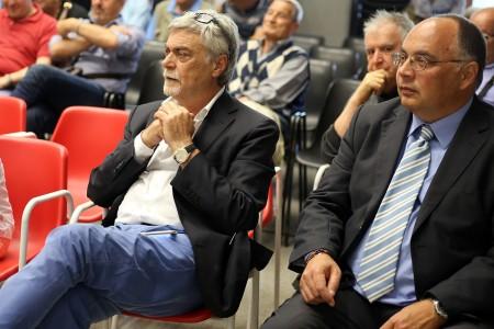 Maurizio Mosca oggi pomeriggio durante la visita in città di Francesco Moser