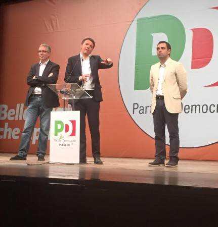 Matteo renzi ad Ancona con Luca Ceriscioli e Francesco Comi