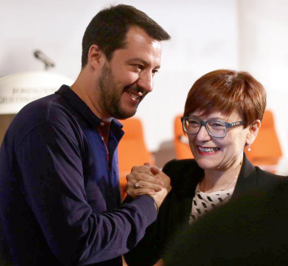 Matteo Salvini con Anna Menghi, candidata sindaco a Macerata con l'appoggio della Lega Nord