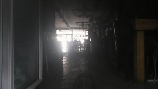 L'interno del locale andato a fuoco
