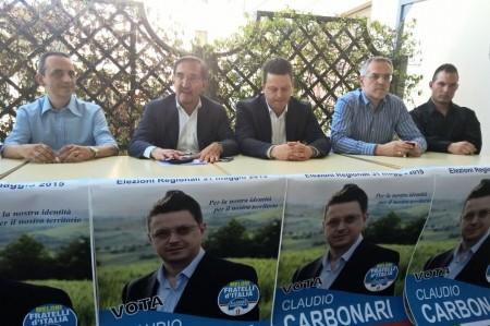 L'incontro di oggi pomeriggio a Piediripa. Da sinistra: Andrea Blarasin, Ignazio La Russa, Claudio Carbonari, Massimo Belvederesi e Paolo Renna