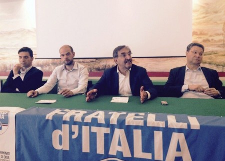 L'incontro a Tolentino. Ignazio La Russa con Francesco Acquaroli, Francesco Colosi e Carlo Ciccioli