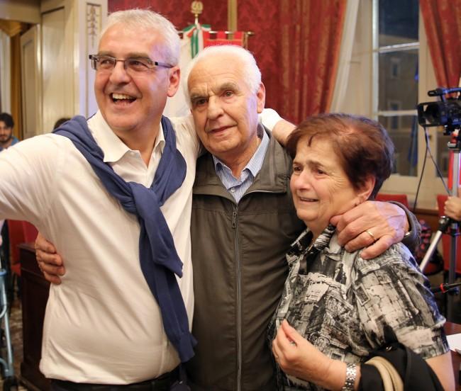Romano Carancini con i genitori Giovanni e Giuseppa