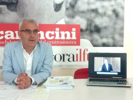 """Romano Carancini ha aperto la conferenza con una clip di """"La più bella del Mondo""""di Roberto Benigni"""