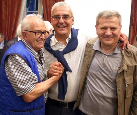 Romano Carancini con alla sua destra Giuliano Meschini, decisivo per la vittoria alle primarie