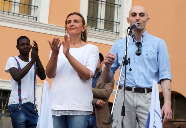 Deborah Pantana con Stefano Giunta di Casa Pound