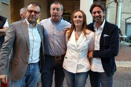Deborah Pantana oggi in piazza con Riccardo Sacchi, Gianluigi Bianchini e Francesco Luciani
