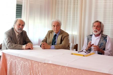 Da sinistra l'architetto Rinaldesi, Piero Cesanelli e Alfonso Cacchiarelli