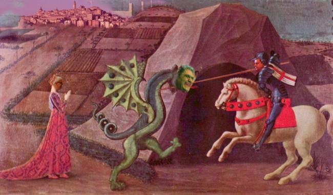 Una rielaborazione dell'opera San Giorgio e il drago, dipinto autografo di Paolo Uccello del periodo 1456-60, che è custodito nel Musée Jacquemart-André a Parigi