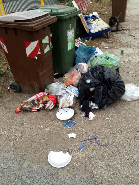 I rifiuti rinvenuti in contrada Le Grazie a Tolentino