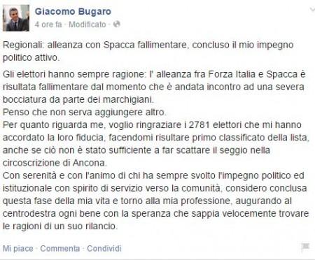 Il post su Facebook di Giacomo Bugaro