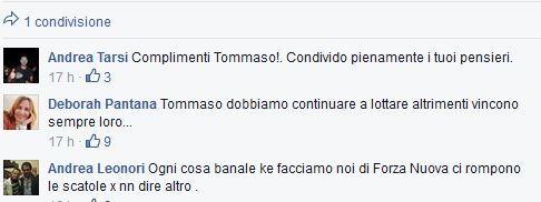 Il commento di Deborah Pantana sulla bacheca facebook di Tommaso Golini