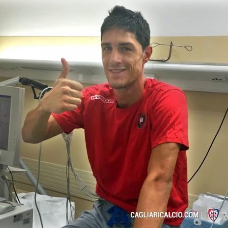 Federico Melchiorri durante le visite mediche con il Cagliari