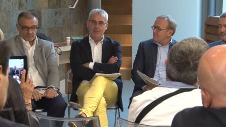 Il direttore Exit, Luciano Ramadori e i sindaci di Macerata e Treia Romano Carancini e Franco Capponi