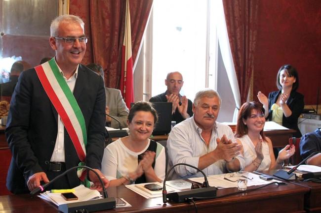 Romano Carancini con gli assessori Federica Curzi, Alferio Canesin e Paola Casoni