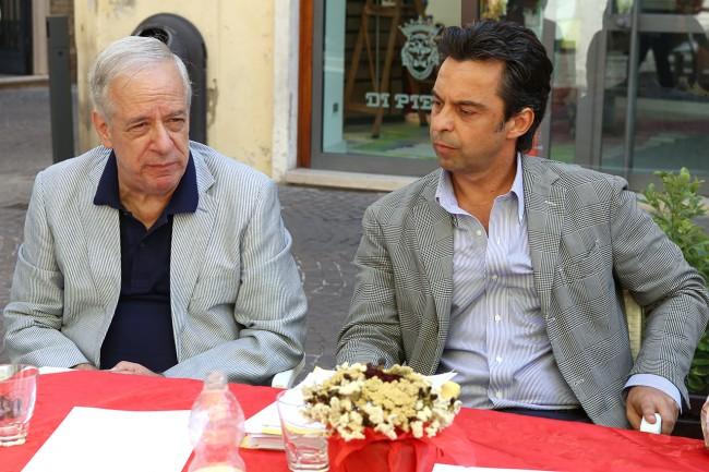 Gli avvocati Giancarlo e Massimo Nascimbeni quest'estate durante un incontro pubblico sullo stadio
