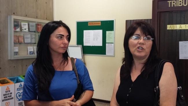 Jennifer Sarchiè e Ave Palestini questa mattina in tribunale