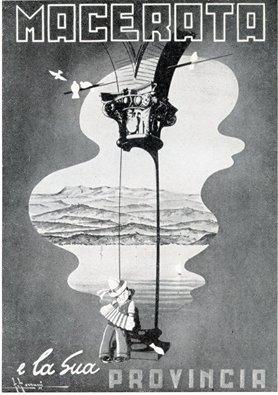 Manifesto di promozione turistica della provincia di Macerata realizzato negli anni '50 dal disegnatore Franco Ferrucci