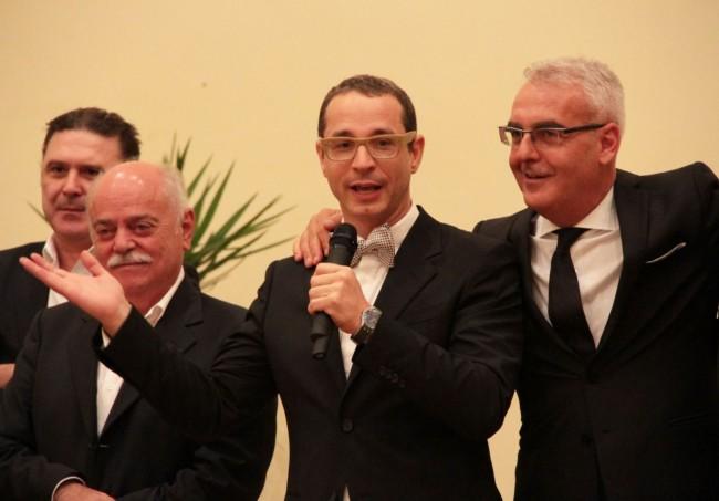 Da sinistra il presidente della Provincia Antonio Pettinari, il direttore artistico Maurizio Micheli, e il sindaco Romano Carancini alla confereza di fine stagione