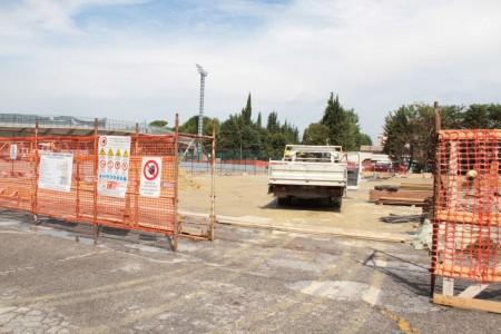 I lavori allo stadio Helvia Recina