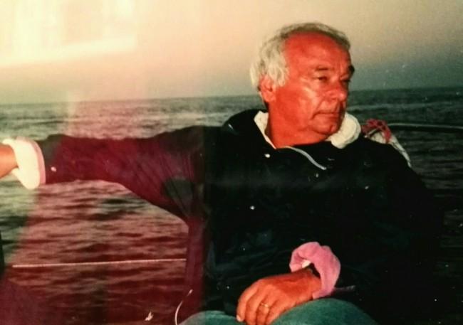 Giovanni Meriggi in barca a vela, sua grande passione