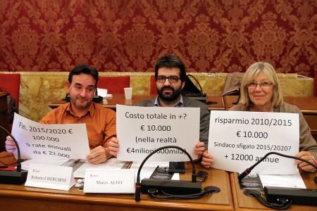 Roberto Cherubini, Marco Alfei e Carla Messi durante un Consiglio comunale