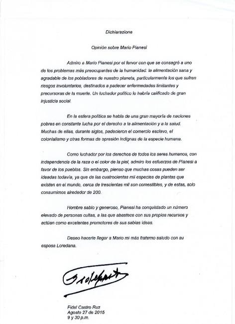 Lettera Fidel Castro originale