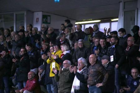 La presidente Tardella in tribuna durante la partita di ieri